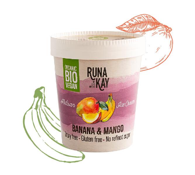 helado vegano banana y mango sin azúcares añadidos